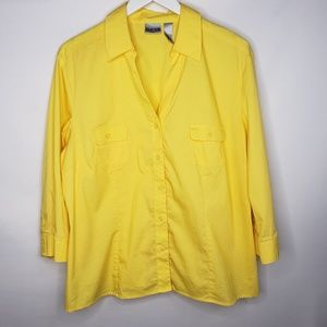 Chico's Yellow No Iron Button Down Shirt